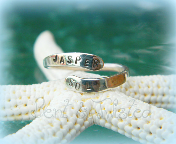 Personalized 2 Name Mothers Ring Friendship Ring 2