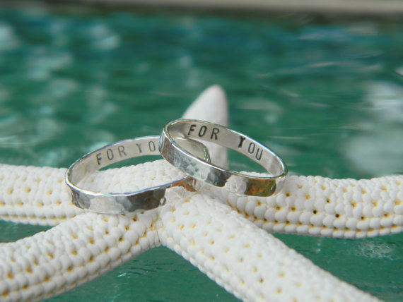 Silver Stamped Stacking Ring Hammered w Inside Text