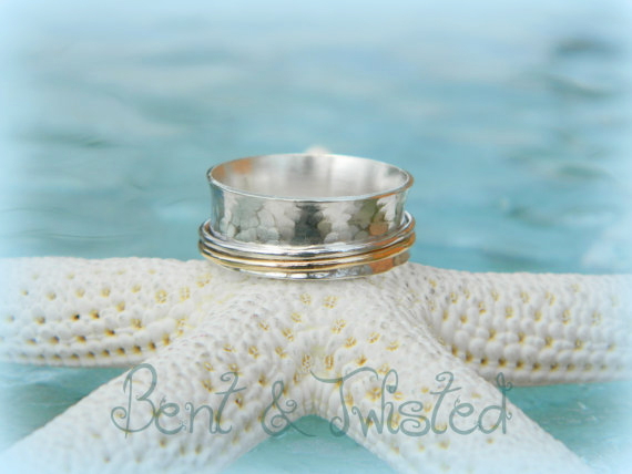 Sterling Silver Spinner Ring with 2 Spinners