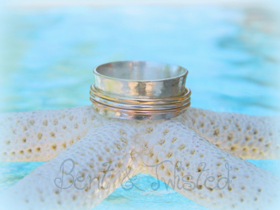 Sterling Spinner Ring with 3 Spinners Gold Fill Rose Gold Fill Sterling  Spinners